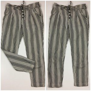 FREE PEOPLE Striped Belted Tapered Leg Soft Pants